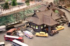 Roadside America Miniature Village -- Shartlesville, PA -- That's a train whizzing by.