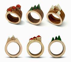 Anéis de madeira formam paisagens