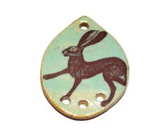 Ceramic Hare Rabbit Pendant Stoneware Handmade Earthy by Grubbi