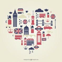 ロンドン中心部にフラットアイコン