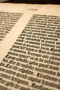 A Noble Fragment: Being a Leaf of the Gutenberg Bible (1450-1455) - the first major book printed with moveable type in the West.  Though only a single leaf it is one of our most frequently called up items in classes here at the University.