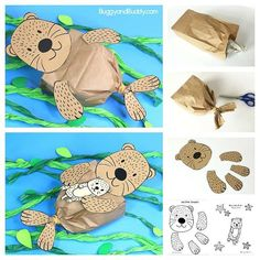 Paper Bag Sea Otter Craft for Kids with free printable sea otter and baby sea otter template- fun ocean or sea life craft