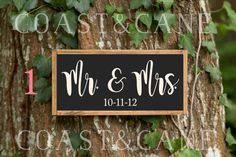 Mr and Mrs sign Wedding date sign Wedding sign by CoastandCane