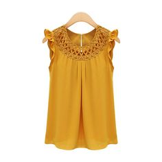 Rotita Ginger Sleeveless Round Neck Ruffled Blouse ($17) ❤ liked on Polyvore featuring tops, blouses, yellow, collar blouse, ruffle sleeveless top, sleeveless blouse, sleeveless tops and yellow blouse
