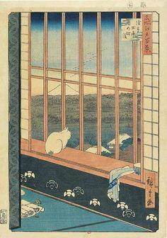 El grabado japonés se llevaba a cabo sobre maderas, preferentemente de cerezo.