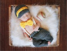 Little Gentleman Outfit Knitted Baby Beanie Hat with Suspenders trousers Bow Tie Set Boy Newborn Photography Props 1set GM002