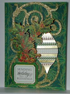 Holiday Blessings Christmas Greeting Card Handmade Anna Griffin Inspired 202 #Handmade #Christmas
