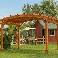 Shop online for Pergolas at Forever Redwood. Hand-crafted Arched Pergola Kits available in custom sizes, shapes, and wood grades. Curved Pergola, Deck With Pergola, Outdoor Pergola, Pergola Kits, Hot Tub Garden, Dream Garden, Patio Kits, Patio Ideas, Garden Ideas