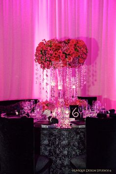 Stunning rose and crystal candelabra centerpiece from Keela and Marion's Las Vegas wedding. Destination wedding planning and design by Tiffany Cook Events Wedding Reception Design, Wedding Show, Wedding Designs, Dream Wedding, Wedding Stuff, Wedding Ceremony, Modern Wedding Centerpieces, Wedding Decorations, Wedding Tables