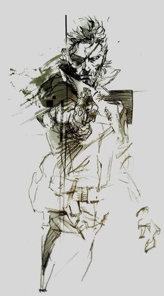 Metal Gear Solid, Big Boss by Yoji Shinkawa Big Boss Metal Gear, Snake Metal Gear, Metal Gear Solid Series, Gear Tattoo, Gurren Laggan, Character Art, Character Design, Metal Gear Rising, Kojima Productions