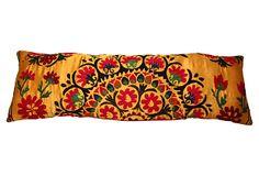 """Sunflower Yellow Suzani Pillow  -  ERIN KELLER HOME  -  50""""L x 16""""W  -  OneKingsLane.com  -  ($325.00)  $229.00"""