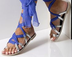 "Lace up sandals, Formal leather sandals with silk laces,, Custom Color ""Ophelia"""