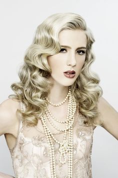 www.sharonblain.com  Image from Step-By-Step DVD  How To Do...Vintage Waves  waves, long hair, hair updo