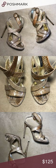"Dolce & Gabbana Snakeskin Strappy Platform Sandal EUC. No issues to highlight. General wear to soles. Natural Snakeskin with gold leather lining. 4.5"" heel. .5"" platform. Size 35.5 fits a US size 5. Dolce & Gabbana Shoes Platforms"