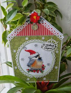 Embroidery - not only the picture: Postcard with titmouse