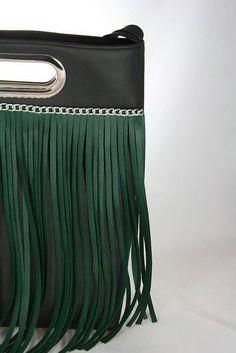 Kabelky - Lora 2 -zelené strapce