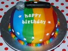Rainbow karaoke cake