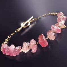 Rough Uncut Pink Sapphire Bracelet by BijouxOdalisque on Etsy, $155.00