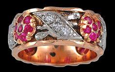 Circa 1940's 14k Rose Gold Diamond Ruby Ring - Yafa Jewelry