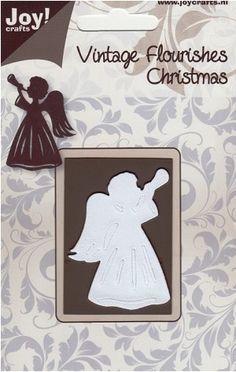 Joy Crafts - Cutting Die - Vintage Flourishes Angel with Trumpet,$7.59