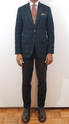 Should I count the striped watch strap too? Plaid Jacket, Suit Jacket, Herringbone Vest, 3 Piece Suits, Suit Separates, Pocket Square, What I Wore, Mens Suits, Paisley