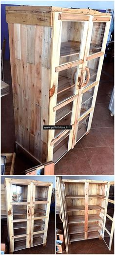 This wooden made pallet kitchen cabinet is a way to enhance the beauty of your kitchen with its rustic appearance and product you ample area for storing different utensils in one place. You can store everything in this pallets wood kitchen cabinet. This kitchen cabinet has three layers of cabins in the upper portion and three layers of cabins in a lower portion.
