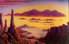 Grand Canyon Oil on Canvas 52 inches x 38 inches ©1998  There are natural hot springs out in the middle of the dessert contemplating on a cliff, the viewer notes the sees the sleeping clouds, deepening their reverie.  .mark henson
