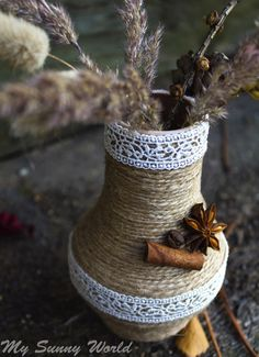 "Rustic vase / Купить Ваза ""Осенняя грусть"" - ваза, ваза для цветов, ваза декоративная, ваза для сухоцветов Twine Wine Bottles, Wine Bottle Art, Wine Glass Crafts, Bottle Crafts, Burlap Art, Mason Jar Vases, Fabric Bowls, Crochet Home Decor, Burlap Crafts"