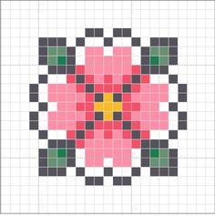 Cross stitch Pixel Drawing, Stitching On Paper, Hama Beads, Bead Art, Pixel Art, Handicraft, Cross Stitch Flowers, Beading Patterns, Embroidery Stitches