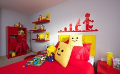 Using standard and bespoke Lego bricks, mini-figures and themed accessories,   Weston Homes has built the first children's bedroom dressed entirely in Lego   products.