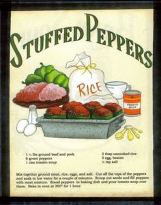 9x11 Retro Primitive Country Kitchen Stuffed Peppers Recipe Wall Decor Sign | eBay