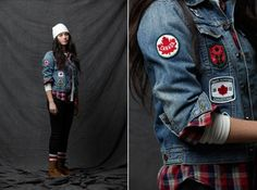 HBC official Canadian Olympic team replica denim jacket with Canadiana patches.