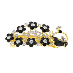 Lady Black Peacock Design Flower Decor Barrette Firench Clip -- Check out this great product. (This is an affiliate link) Thick Natural Hair, Curly Hair Styles, Natural Hair Styles, Roller Set, Peacock Design, Queen Hair, Quick Hairstyles, Braided Updo, Styling Tools
