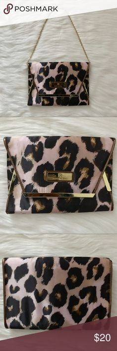 RIVER ISLAND SATIN CLUTCH BAG RIVER ISLAND SATIN CLUTCH BAG Pre-owned but great condition.  Includes chain strap. Satin Pink and Purple Leopard Print River Island Bags Clutches & Wristlets