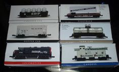 Southern Pacific Train Set 'N' Scale Locomotive Hooper Tank Canister Caboose  #highspeedmetalproducts Train Sets For Sale, N Scale Locomotives, Canisters, Rio, Southern, Container, Jars