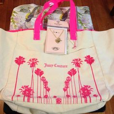 NEW Juicy Couture tote and Juicy couture necklace New canvas Juicy tote has magnetic closure storage pouch on front of tote. Magnetic closure on main compartment also. Interior of tote has 2 utility storage pouches. Tote is 22 in. across, 12 1/4 in. high & 8 in. wide. Juicy necklace has animal print on other side. Heart is 3/4 in. across. Chain is 17 in. with 3 in. extender Juicy Couture Jewelry Necklaces