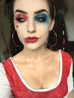 harley quinn cosplay - Album on Imgur Face is illamasqua liquid foundation in white with a tonne of translucent powder on top Eyes are nyx primal colours in hot red/hot blue with Mac carbon used as eyeliner and smoked out, can't remember what brand my eyelashes are(sorry !) Lips are Mac Russian red