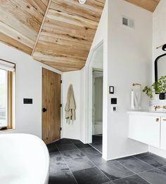Spa Master Bathroom, Slate Bathroom, Bathroom Floor Tiles, Bathroom Layout, Modern Bathroom, Bathroom Ideas, Black Bathroom Floor, Spa Inspired Bathroom, Bathroom Inspiration