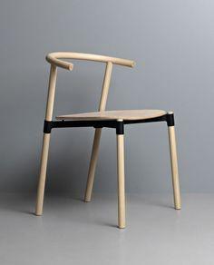 natural wood + black chair design