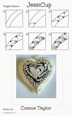 Online instructions for drawing Connie Taylor's Zentangle® pattern: JessiCup.