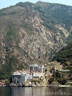 Monastery at Mt Athos, Halkidiki, Greece Ancient Greek Theatre, Halkidiki Greece, Christian World, Greece Islands, Ancient Ruins, Medieval Castle, Thessaloniki, Beautiful World, National Parks