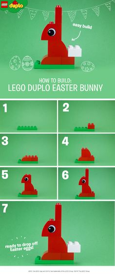This super simple build bunny build is a fun and easy Easter themed play activity for toddlers. All you'll need for this activity are a few different colored LEGO DUPLO bricks. Once you've made a bunny together, how about making some chicks and ducks, or maybe even some colorful Easter eggs? Get more colorful bricks here.
