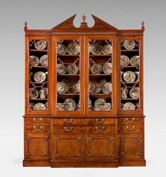 Chippendale Period Mahogany Breakfront Library Bookcase (Ref No. 2456) - Windsor House Antiques