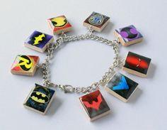 Bat Family Scrabble Tile Charm Bracelet  DC by HoneysuckleRoseC