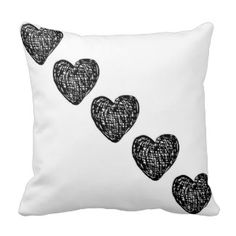 Straight To My Heart Pillow - White and Black #blackandwhite #hearts #love #Valentine'sday #pillows