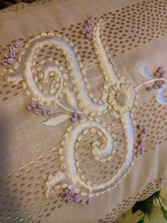 Monogram in ribbon embroidery