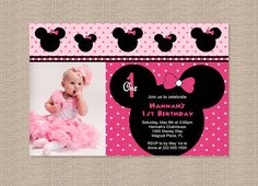 disney minnie mouse st birthday invite diy printing custom, invitation samples