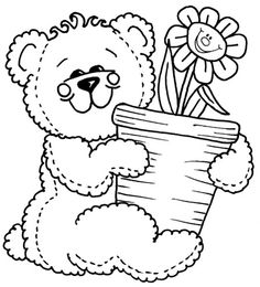 Bear with smiling flower