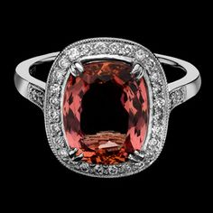 Imperial topaz and diamonds in platinum