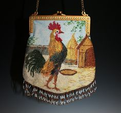 Micro beaded rooster purse. Small (7 inches by 7 inches), perhaps a child's purse? Great scene.